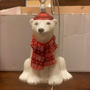 NWT - Dapper Polar Bear Blown Glass Ornament